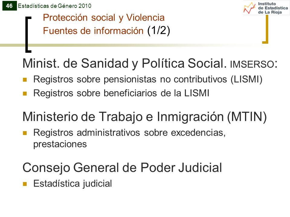 Protección social y Violencia Fuentes de información (1/2)