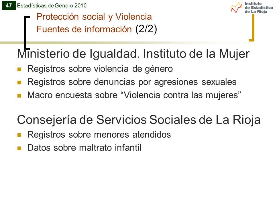 Protección social y Violencia Fuentes de información (2/2)