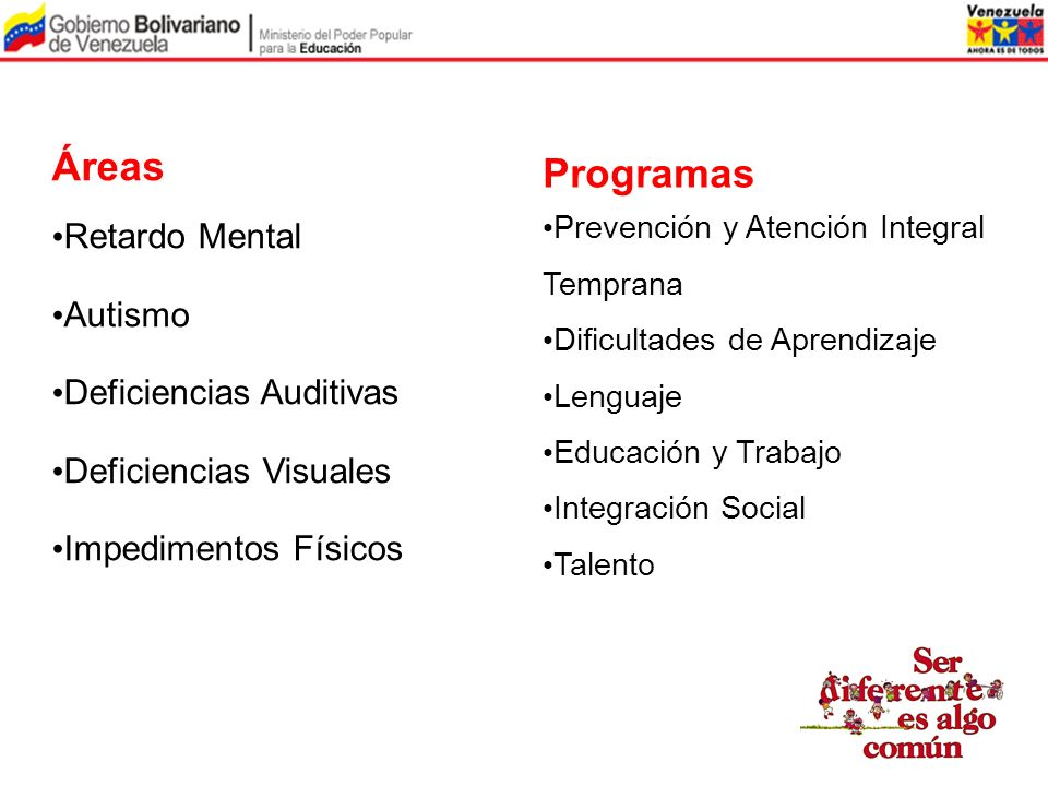 Áreas Programas Retardo Mental Autismo Deficiencias Auditivas