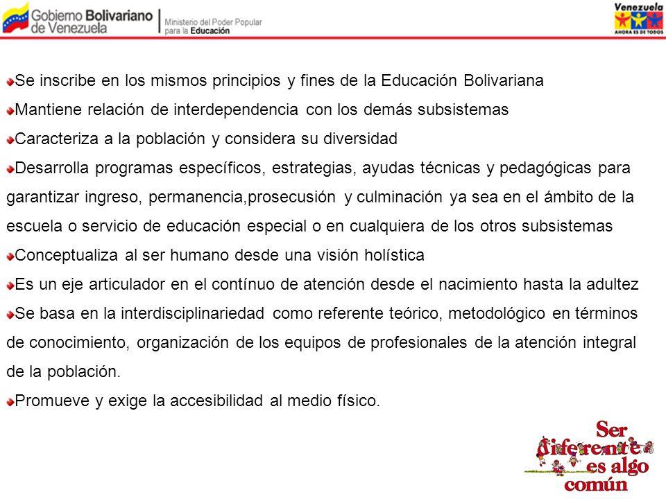 Se inscribe en los mismos principios y fines de la Educación Bolivariana