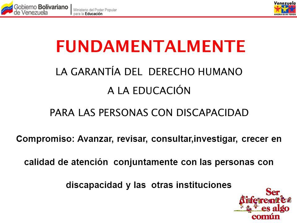 FUNDAMENTALMENTE LA GARANTÍA DEL DERECHO HUMANO A LA EDUCACIÓN