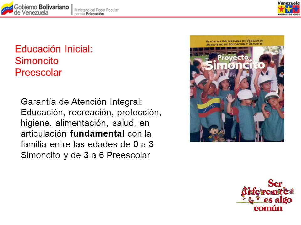 Educación Inicial: Simoncito Preescolar Garantía de Atención Integral:
