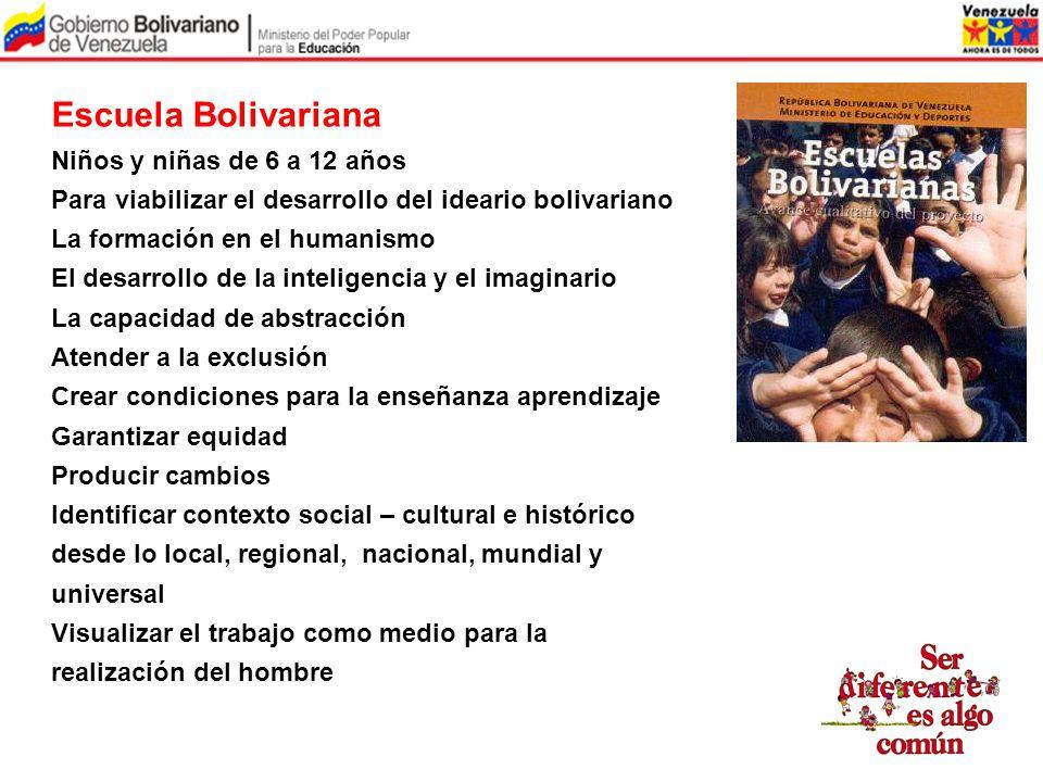 Escuela Bolivariana Niños y niñas de 6 a 12 años