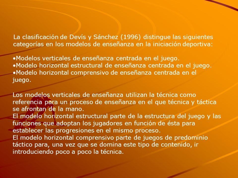 La clasificación de Devís y Sánchez (1996) distingue las siguientes categorías en los modelos de enseñanza en la iniciación deportiva: