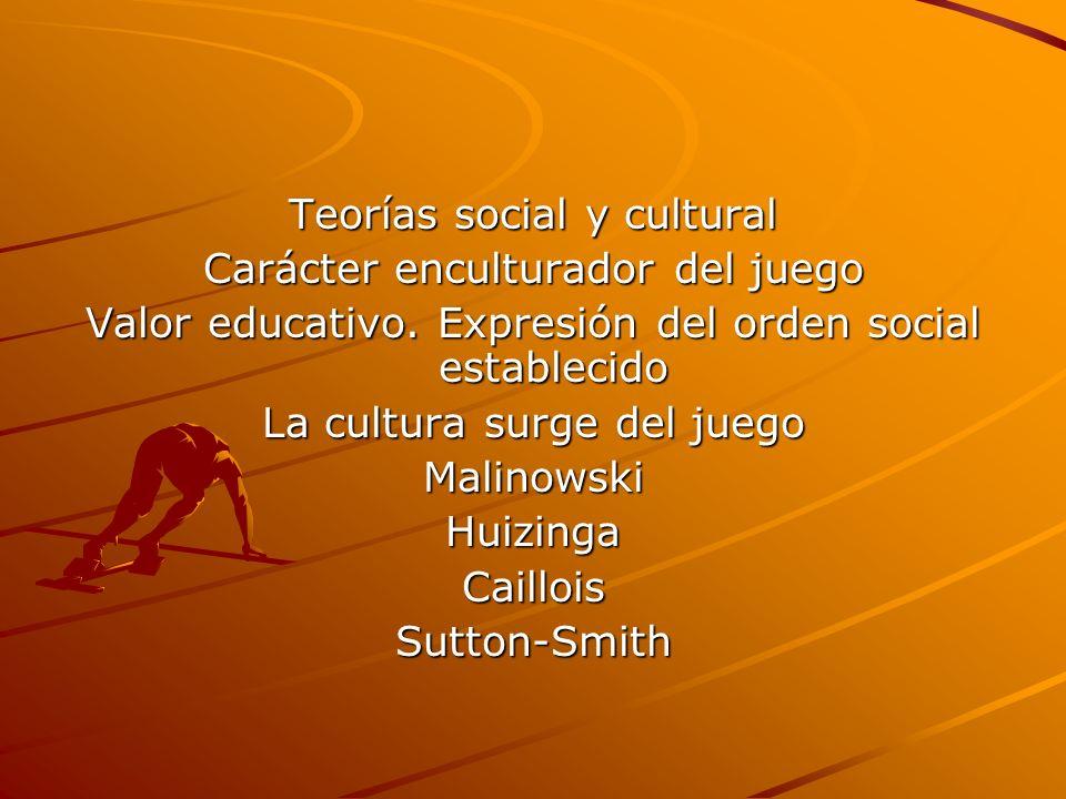 Teorías social y cultural Carácter enculturador del juego