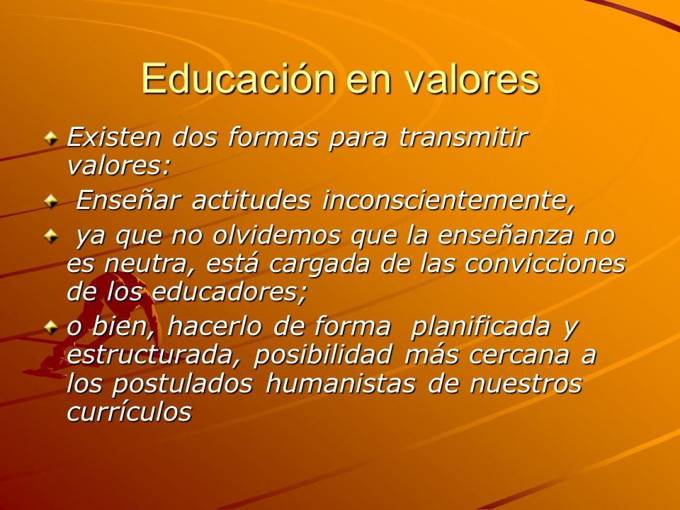 Educación en valores Existen dos formas para transmitir valores: