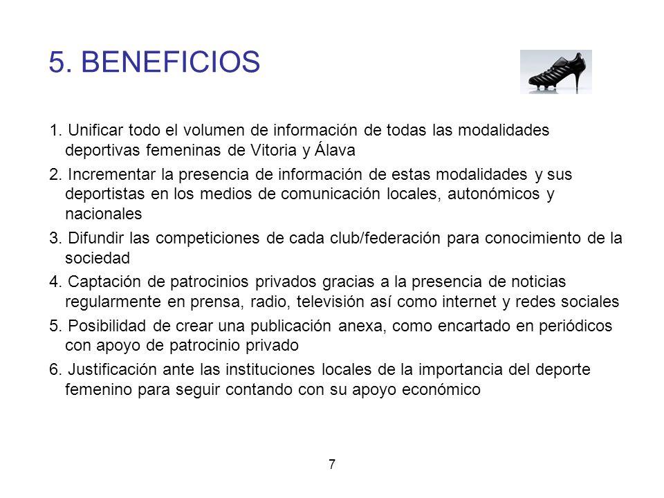 5. BENEFICIOS 1. Unificar todo el volumen de información de todas las modalidades deportivas femeninas de Vitoria y Álava.
