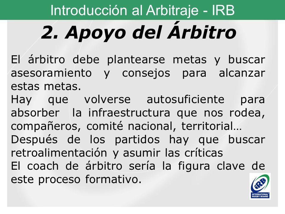 2. Apoyo del Árbitro El árbitro debe plantearse metas y buscar asesoramiento y consejos para alcanzar estas metas.