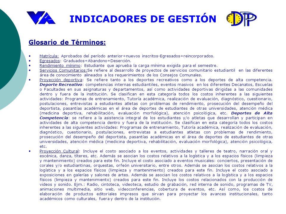 Glosario de Términos:Matrícula: Aprobados del período anterior+nuevos inscritos-Egresados+reincorporados.