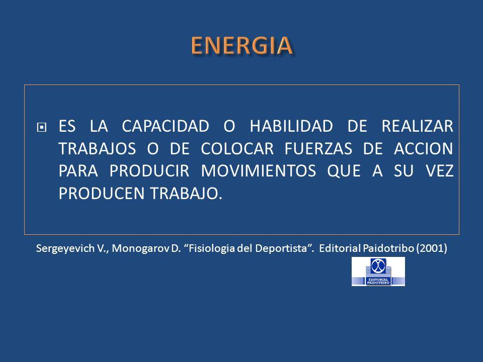ENERGIA ES LA CAPACIDAD O HABILIDAD DE REALIZAR TRABAJOS O DE COLOCAR FUERZAS DE ACCION PARA PRODUCIR MOVIMIENTOS QUE A SU VEZ PRODUCEN TRABAJO.