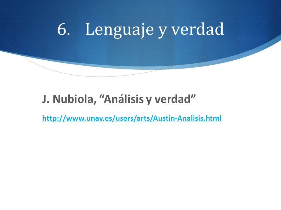 Lenguaje y verdad J. Nubiola, Análisis y verdad