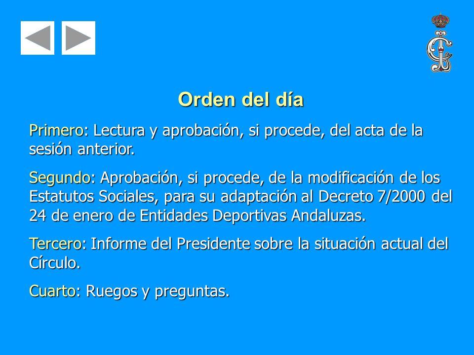 Orden del día Primero: Lectura y aprobación, si procede, del acta de la sesión anterior.