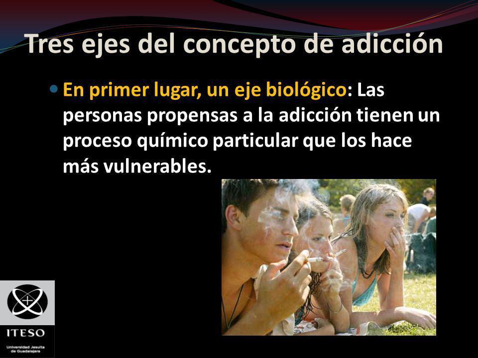 Tres ejes del concepto de adicción