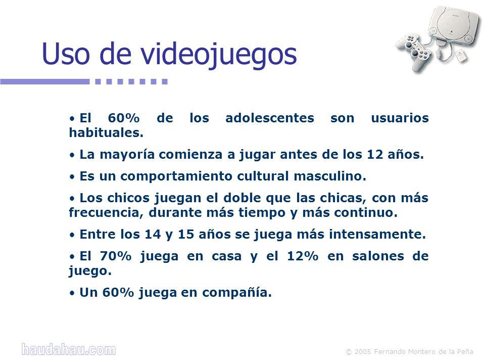 Uso de videojuegos El 60% de los adolescentes son usuarios habituales.