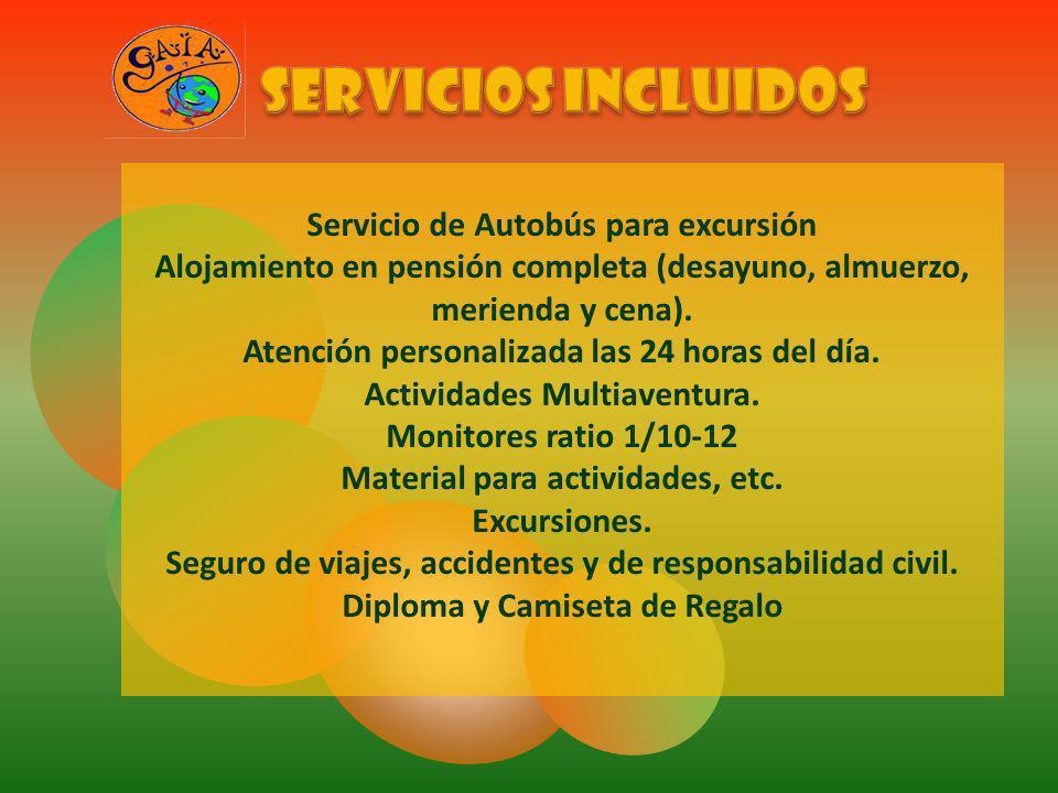 SERVICIOS INCLUIDOS Servicio de Autobús para excursión