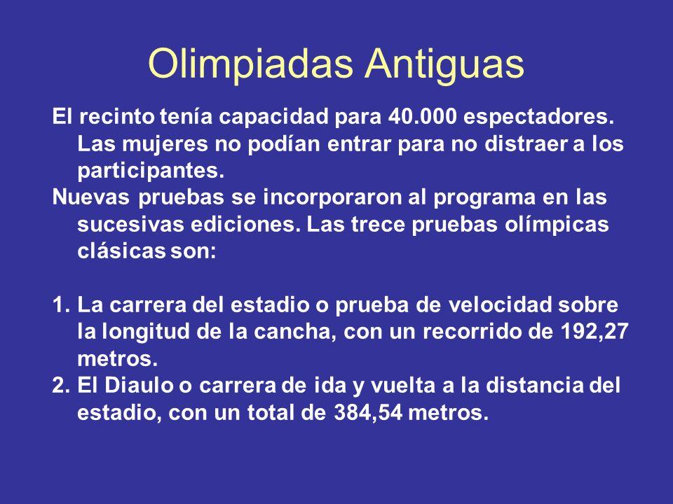 Olimpiadas Antiguas El recinto tenía capacidad para 40.000 espectadores. Las mujeres no podían entrar para no distraer a los participantes.