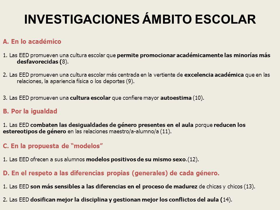 INVESTIGACIONES ÁMBITO ESCOLAR
