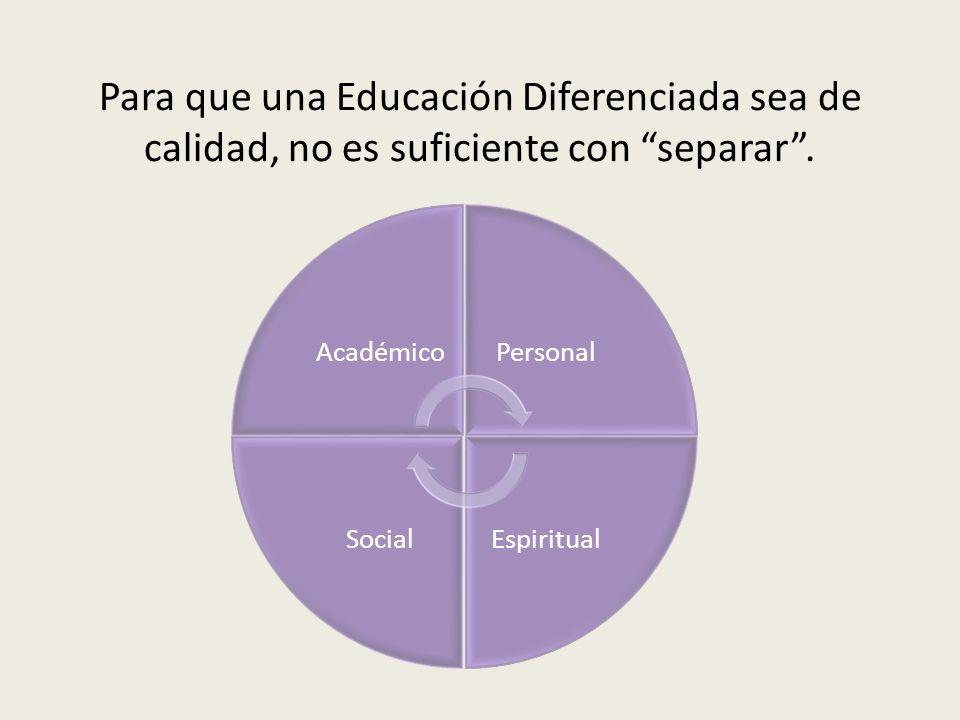 Para que una Educación Diferenciada sea de calidad, no es suficiente con separar .
