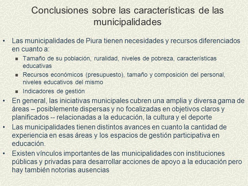 Conclusiones sobre las características de las municipalidades
