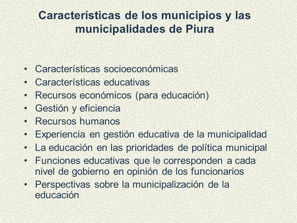 Características de los municipios y las municipalidades de Piura