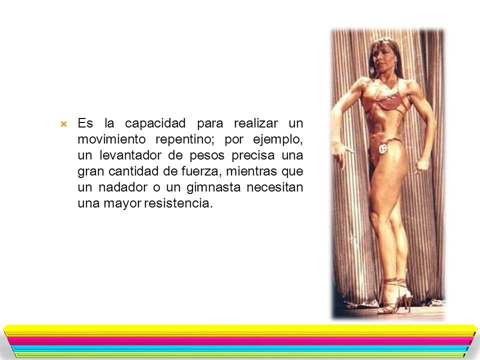 Es la capacidad para realizar un movimiento repentino; por ejemplo, un levantador de pesos precisa una gran cantidad de fuerza, mientras que un nadador o un gimnasta necesitan una mayor resistencia.