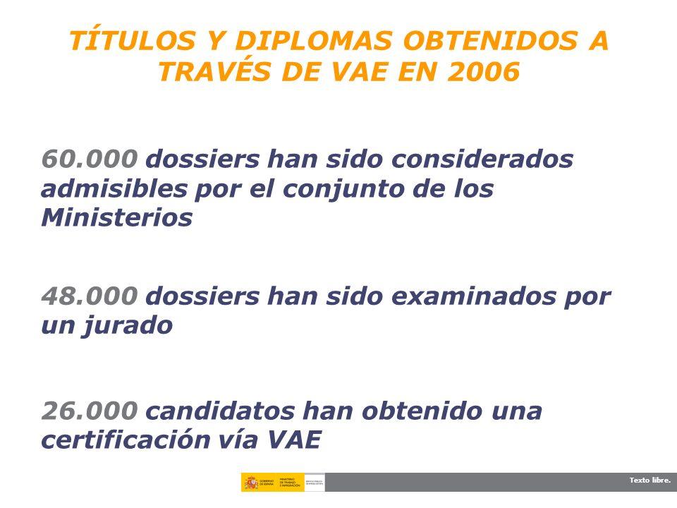 TÍTULOS Y DIPLOMAS OBTENIDOS A TRAVÉS DE VAE EN 2006