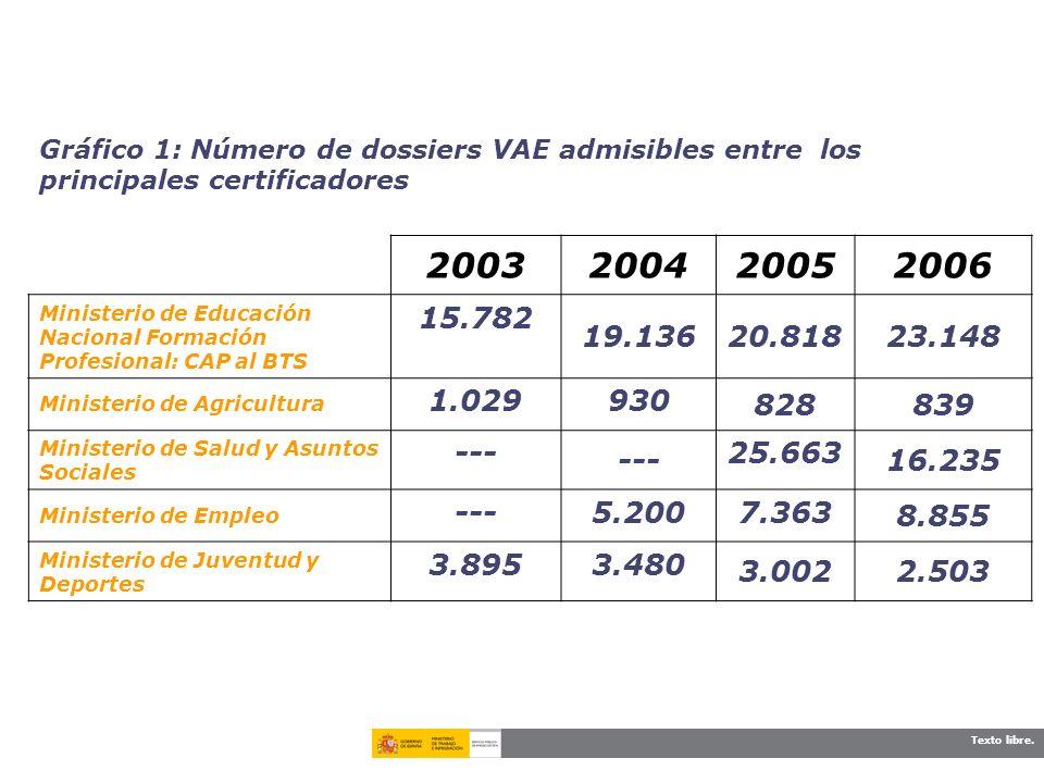 Gráfico 1: Número de dossiers VAE admisibles entre los principales certificadores