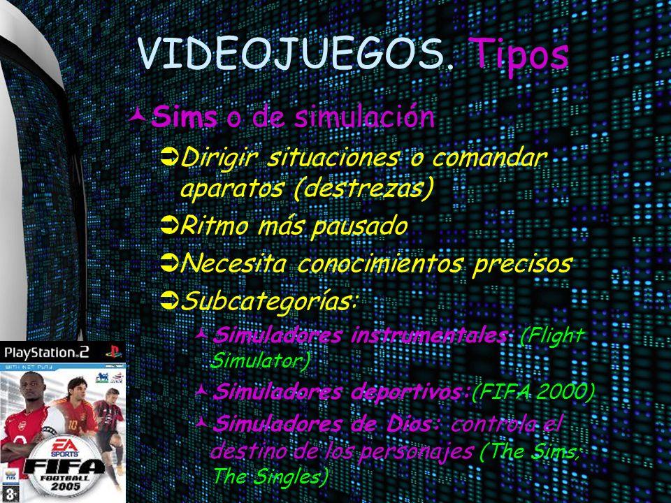 VIDEOJUEGOS. Tipos Sims o de simulación