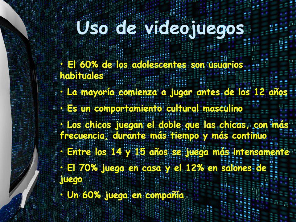 Uso de videojuegos El 60% de los adolescentes son usuarios habituales