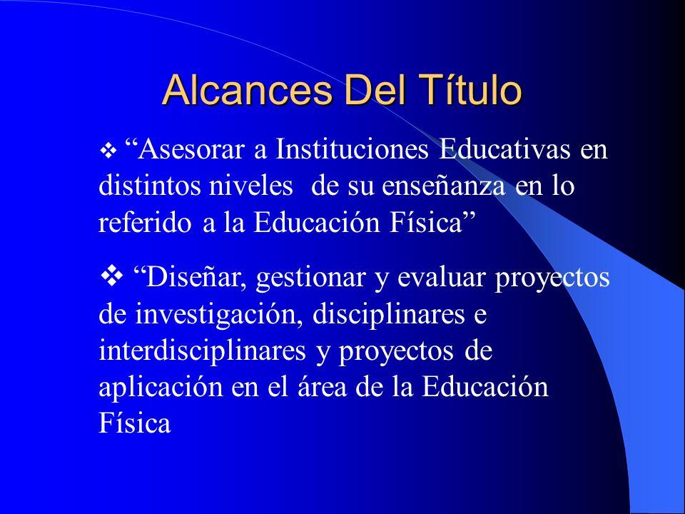 Alcances Del Título Asesorar a Instituciones Educativas en distintos niveles de su enseñanza en lo referido a la Educación Física