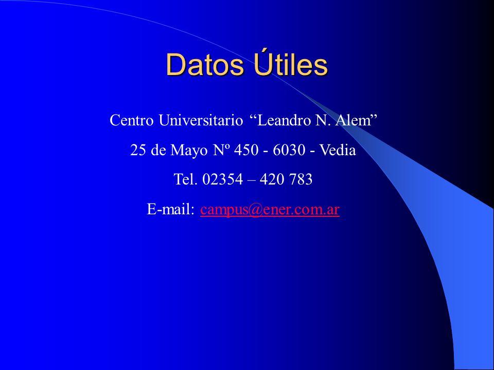 Datos Útiles Centro Universitario Leandro N. Alem