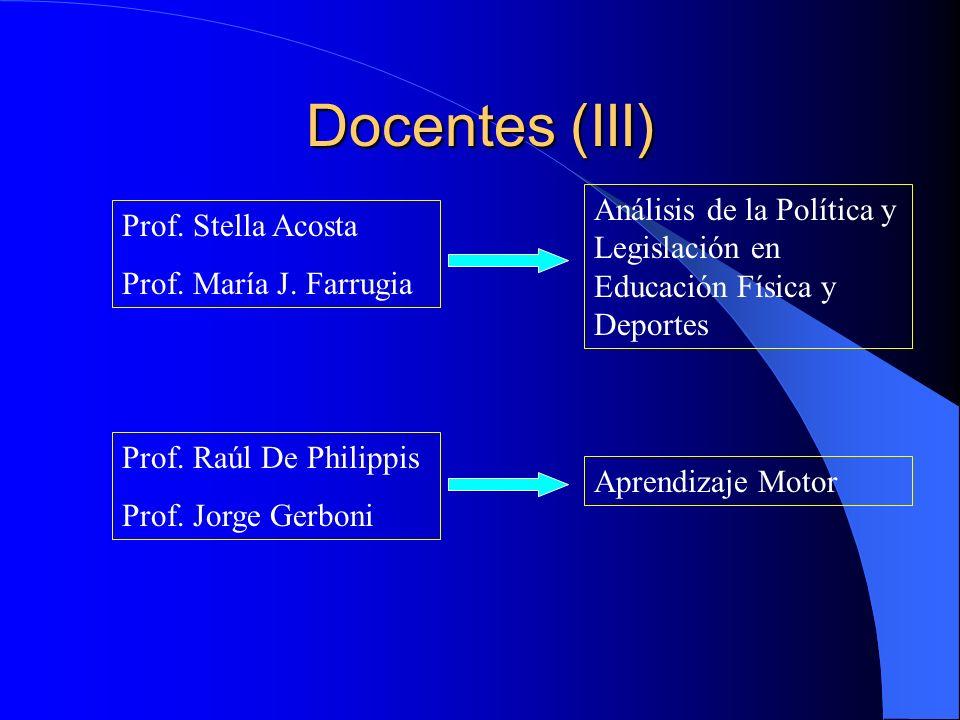 Docentes (III) Análisis de la Política y Legislación en Educación Física y Deportes. Prof. Stella Acosta.