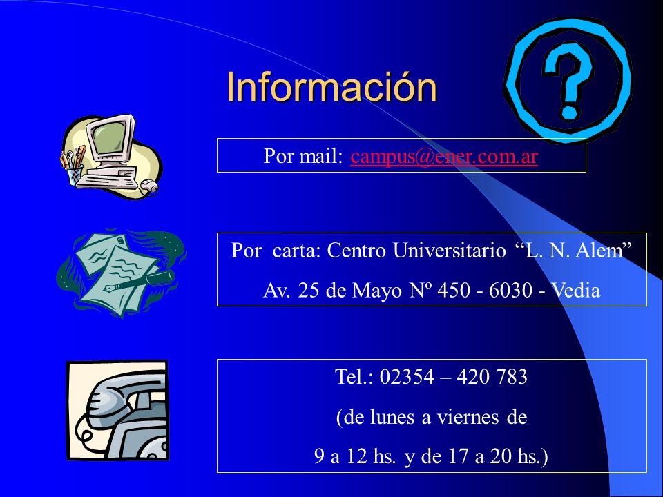 Información Por mail: campus@ener.com.ar