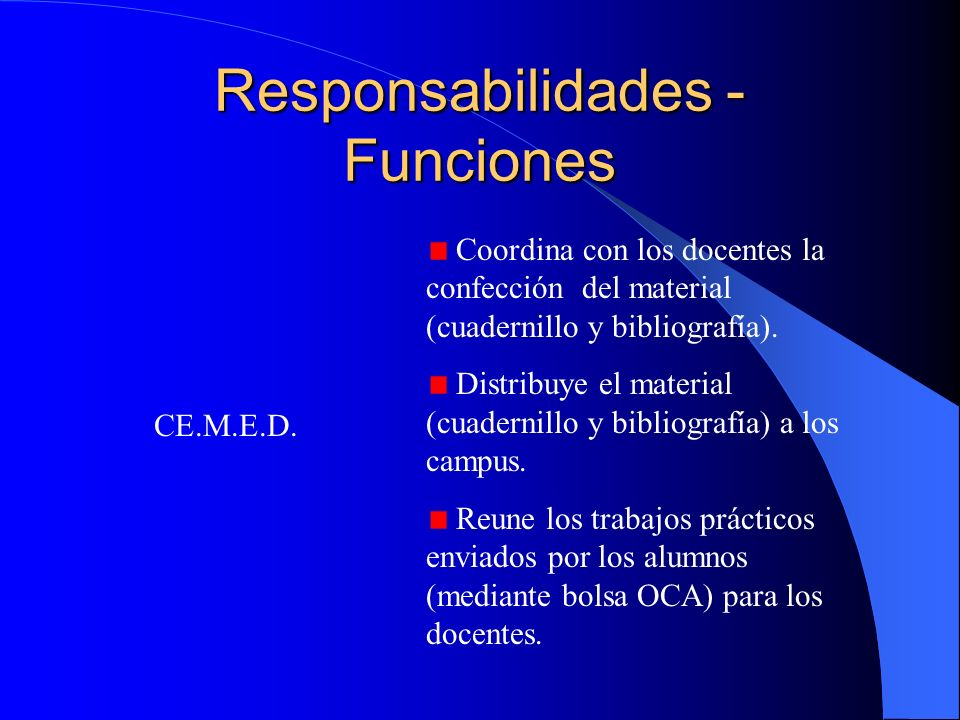 Responsabilidades - Funciones