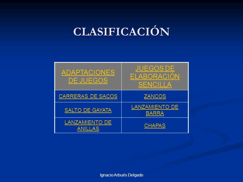 CLASIFICACIÓN JUEGOS DE ELABORACIÓN SENCILLA ADAPTACIONES DE JUEGOS