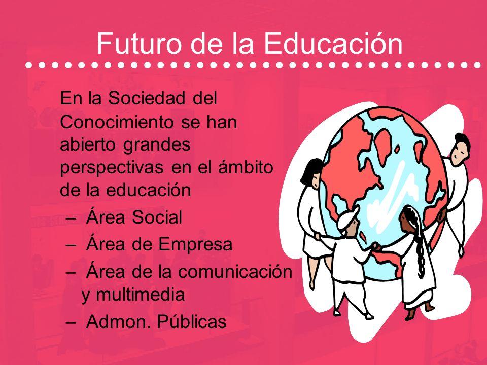 Futuro de la EducaciónEn la Sociedad del Conocimiento se han abierto grandes perspectivas en el ámbito de la educación.