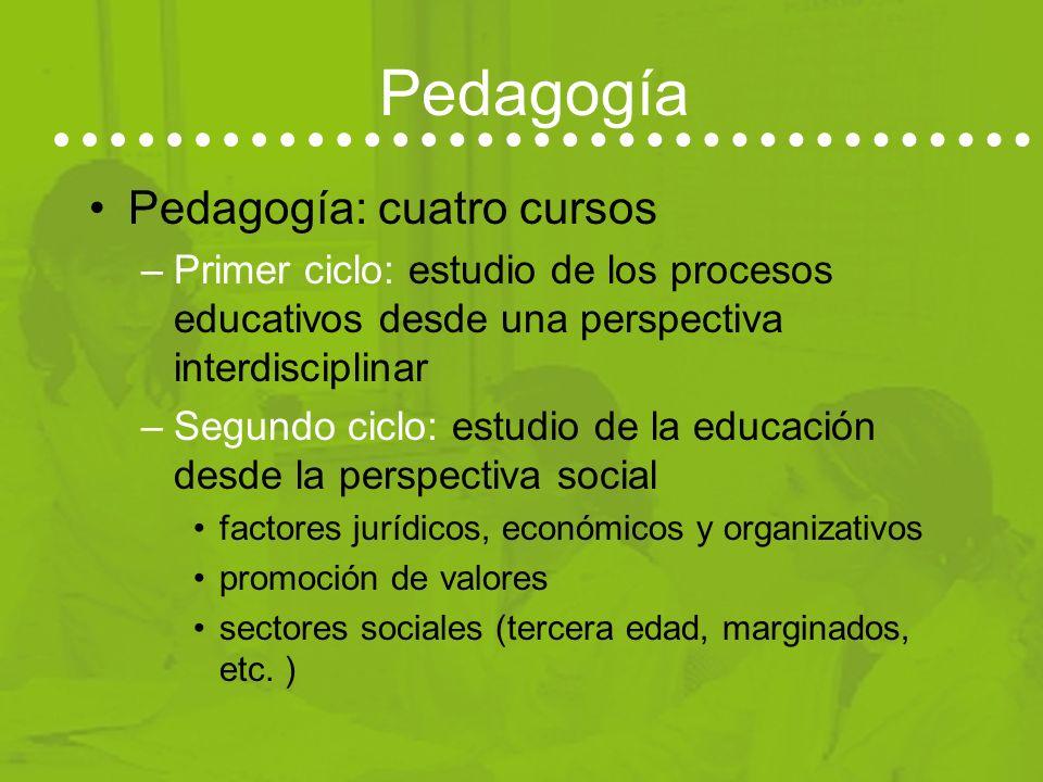 Pedagogía Pedagogía: cuatro cursos