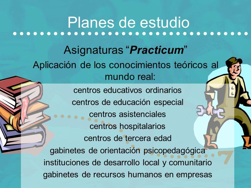 Planes de estudio Asignaturas Practicum