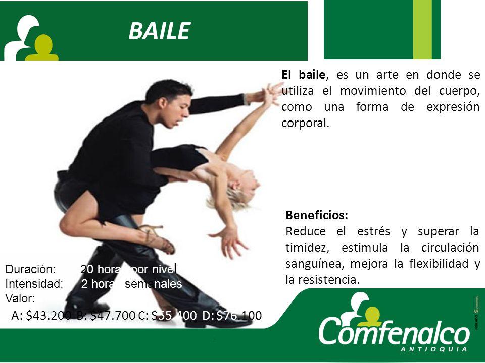 BAILE El baile, es un arte en donde se utiliza el movimiento del cuerpo, como una forma de expresión corporal.