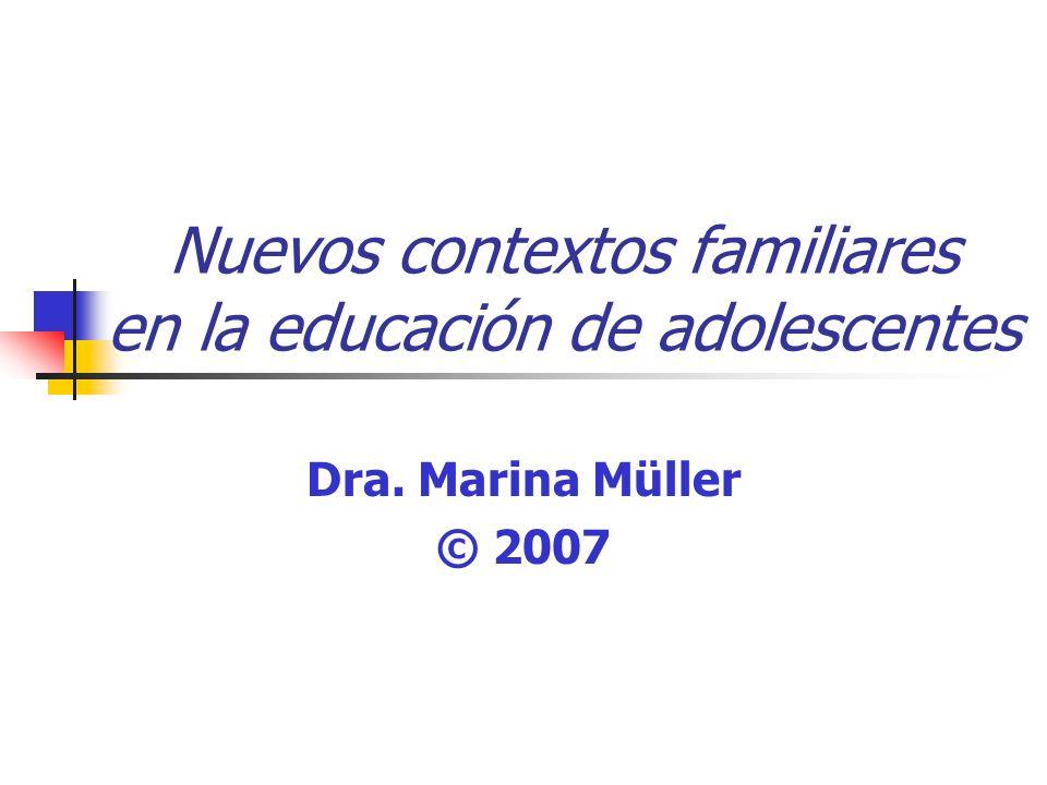 Nuevos contextos familiares en la educación de adolescentes