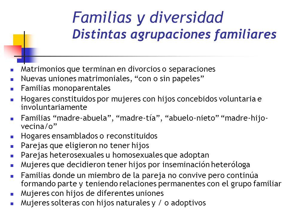 Familias y diversidad Distintas agrupaciones familiares