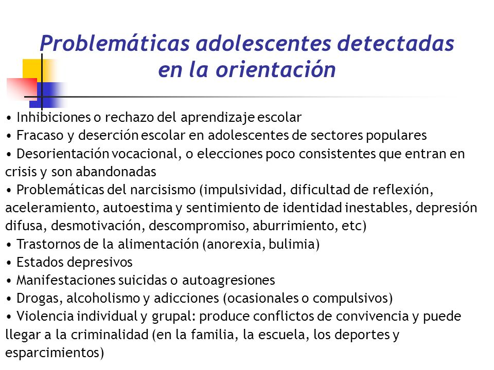 Problemáticas adolescentes detectadas