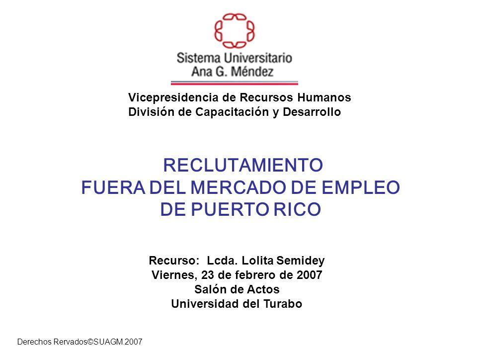 RECLUTAMIENTO FUERA DEL MERCADO DE EMPLEO DE PUERTO RICO