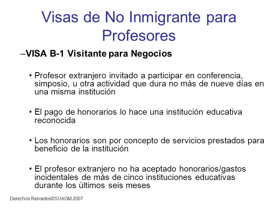 Visas de No Inmigrante para Profesores