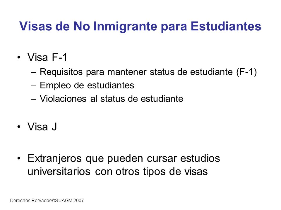 Visas de No Inmigrante para Estudiantes