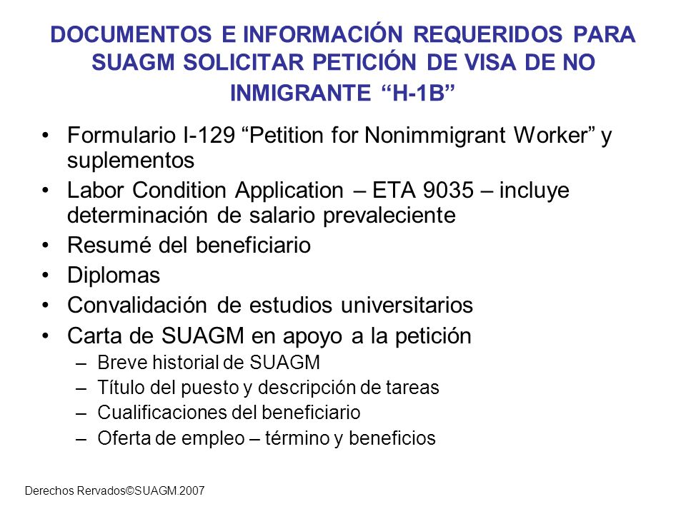 Formulario I-129 Petition for Nonimmigrant Worker y suplementos