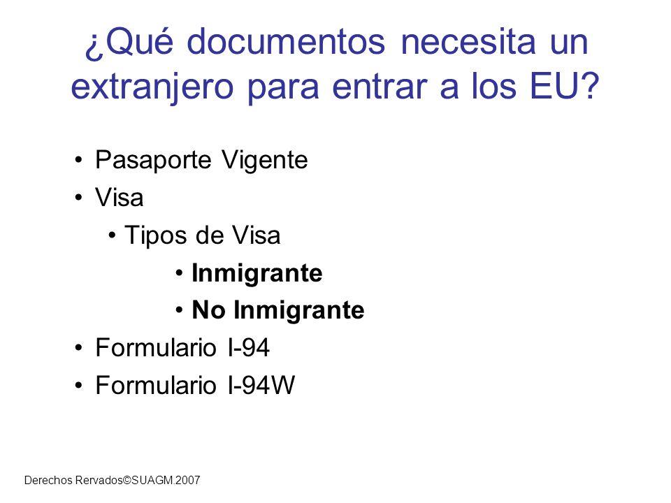¿Qué documentos necesita un extranjero para entrar a los EU