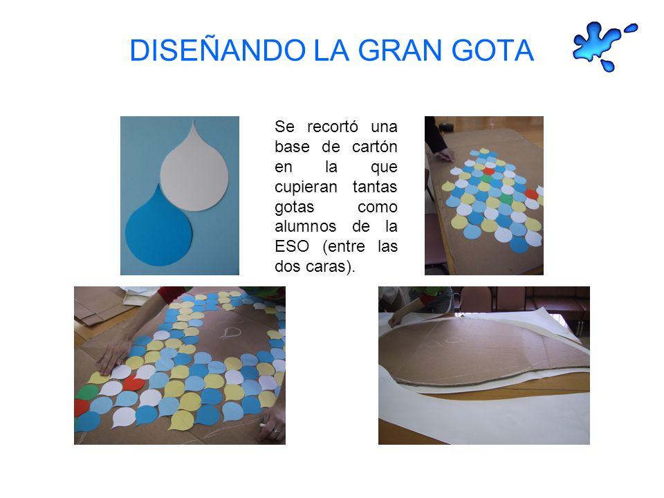 DISEÑANDO LA GRAN GOTA Se recortó una base de cartón en la que cupieran tantas gotas como alumnos de la ESO (entre las dos caras).