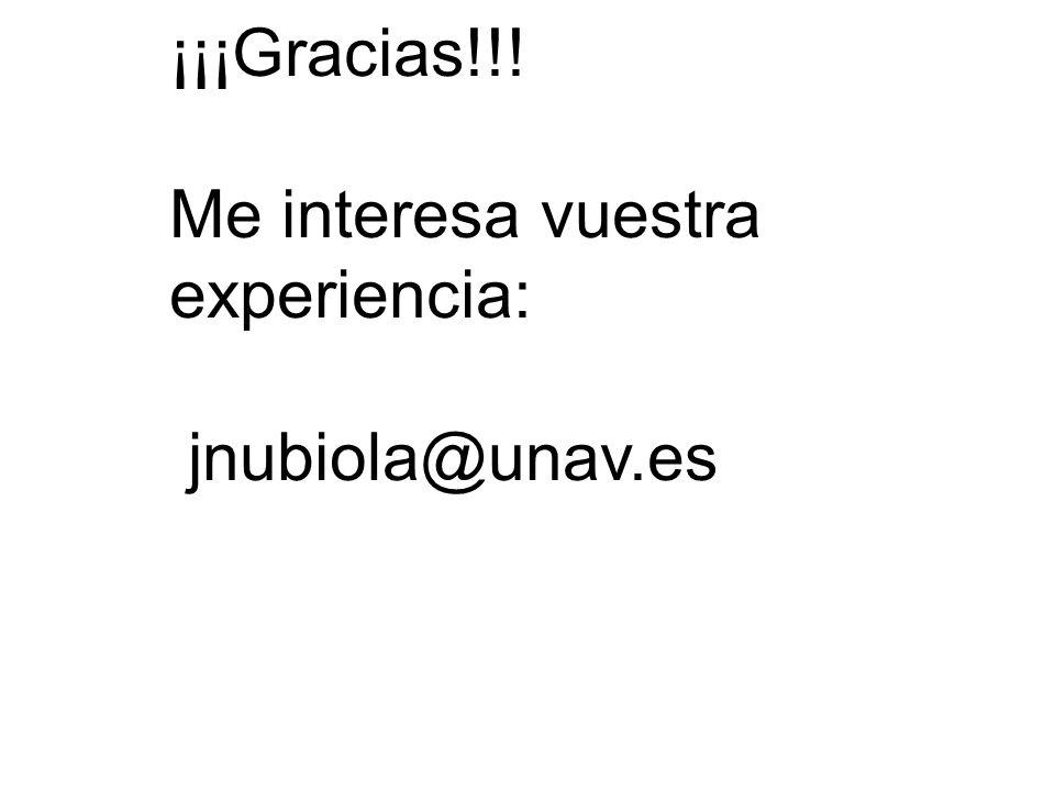 ¡¡¡Gracias!!! Me interesa vuestra experiencia: jnubiola@unav.es