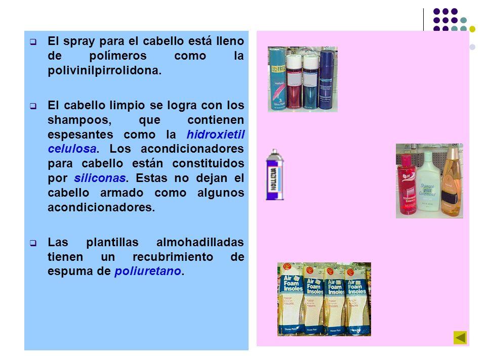 El spray para el cabello está lleno de polímeros como la polivinilpirrolidona.